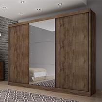 Guarda Roupa Casal com Espelho 3 Portas 8 Gavetas Spazzio Siena Móveis Canela -