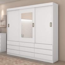 Guarda Roupa Casal com Espelho 3 Portas 9 Gavetas Hércules Plus Móveis Lopas Branco -