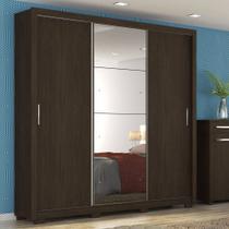 Guarda Roupa Casal com Espelho 3 Portas com Pés Residence II Demóbile Ébano Touch -