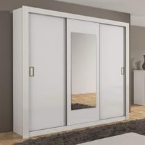Guarda Roupa Casal com Espelho 3 Portas de Correr 3 Gavetas Apoena Plus Móveis Lopas Branco -
