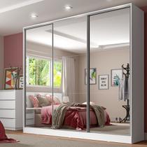 Guarda-roupa Casal com Espelho 3 Portas de Correr 4 Gavetas Madesa Royale -