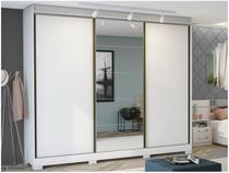 Guarda-roupa Casal com Espelho 3 Portas de Correr - 6 Gavetas Kappesberg G542-BR