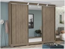 Guarda-roupa Casal com Espelho 3 Portas de Correr - 6 Gavetas Kappesberg G542-NO