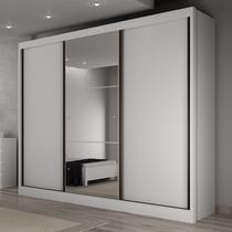 Guarda Roupa Casal com Espelho 3 Portas de Correr 6 Gavetas Soberano Yescasa .Branco/Rosa. -