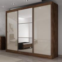 Guarda Roupa Casal com Espelho 3 Portas de Correr 6 Gavetas Soberano Yescasa Canela/Off White -
