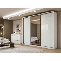 Guarda Roupa Casal com Espelho 3 Portas de Correr 6 Gavetas Spazio Glass Espresso Móveis Branco - Lopas