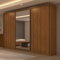 Guarda Roupa Casal com Espelho 3 Portas de Correr 6 Gavetas Spazio Glass Móveis Lopas Rovere Naturale -