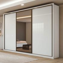 Guarda Roupa Casal com Espelho 3 Portas de Correr 6 Gavetas Spazio Glass Siena Móveis Branco -