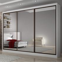 Guarda Roupa Casal com Espelho 3 Portas de Correr 8 Gavetas Grand Siena Móveis Branco -