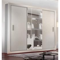 Guarda Roupa Casal com Espelho 3 Portas de Correr Alice Luxo Siena Moveis Branco - Siena móveis
