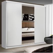 Guarda Roupa Casal com Espelho 3 Portas de Correr Evidence Espresso Móveis Branco -