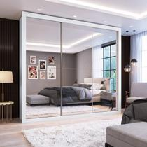 Guarda Roupa Casal com Espelho 3 Portas de Correr Flórida Espresso Móveis Branco -