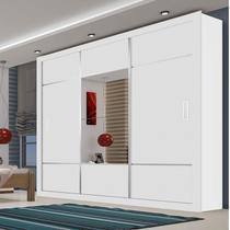 Guarda Roupa Casal com Espelho 3 Portas de Correr Lotse Espresso Móveis Branco -