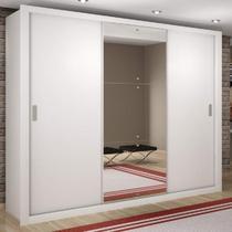 Guarda Roupa Casal com Espelho 3 Portas de Correr Luna Rufato Branco -