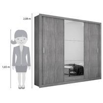 Guarda Roupa Casal com Espelho 3 Portas de Correr Luna Rufato Imbuia -