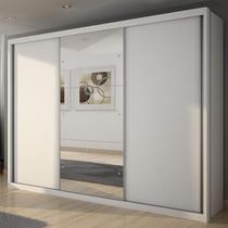 Guarda Roupa Casal com Espelho 3 Portas de Correr Paradizzo Gold Yescasa Branco -