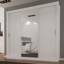 Guarda Roupa Casal com Espelho 3 Portas de Correr Smart Siena Móveis Branco -