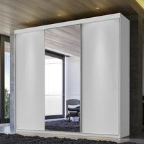 Guarda Roupa Casal com Espelho 3 Portas e 4 gavetas Gravatá Yescasa Branco -