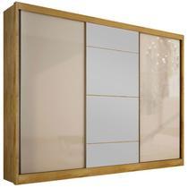 Guarda-Roupa Casal com Espelho 3 Portas e 8 Gavetas Natus Gold-Novo Horizonte -