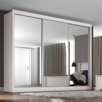 Guarda Roupa Casal com Espelho 3 Portas Napoli Móveis Europa Branco -