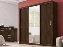 Guarda Roupa Casal com Espelho 3 Portas Residence Demóbile Ebano Touch -