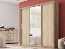 Guarda Roupa Casal com Espelho 3 Portas Residence Demóbile Nogal/Vanilla Touch -