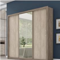 Guarda Roupa Casal com Espelho 3 Portas Residence Demóbile Nogal -