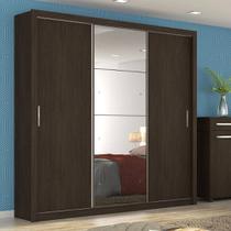 Guarda Roupa Casal com Espelho 3 Portas Residence II Demóbile Èbano Touch -