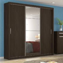 Guarda-Roupa Casal com Espelho 3 Portas Residence II Ébano Touch - Demóbile -