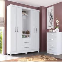 Guarda Roupa Casal com Espelho 4 Portas 2 Gavetas Capelinha Light Atualle Móveis Branco Brilho -