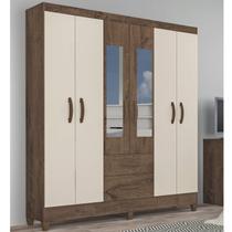 Guarda Roupa Casal com Espelho 6 Portas 2 Gavetas Real Atualle Móveis Mocaccino Rústico/Natura Off White -