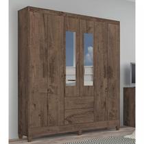 Guarda Roupa Casal com Espelho 6 Portas 2 Gavetas Real Atualle Móveis Mocaccino Rústico -