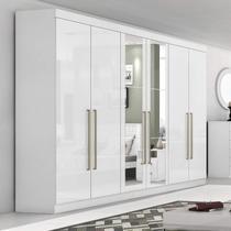 Guarda Roupa Casal com Espelho 6 Portas 4 Gavetas Castellaro Móveis Lopas Branco -