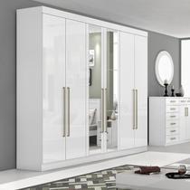 Guarda Roupa Casal com Espelho 6 Portas 6 Gavetas Castellaro Móveis Lopas Branco -