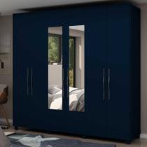 Guarda Roupa Casal com Espelho 6 Portas Alpha Azul Acetinado - Gelius -