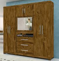Guarda-Roupa Casal com Espelho 6 Portas de Bater 3 Gavetas Dubai Castanho - Moval -
