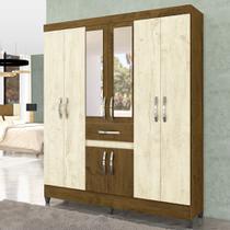 Guarda Roupa Casal Com Espelho 8 Portas Porto Moval Avelã Wood/ Castanho Wood -