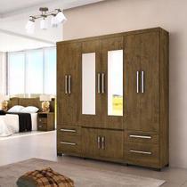 Guarda Roupa Casal Com Espelho 8 Portas Porto Moval Castanho Wood -