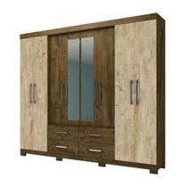 Guarda Roupa Casal com Espelho San Lorenzo Castanho Avela Wood Moval -