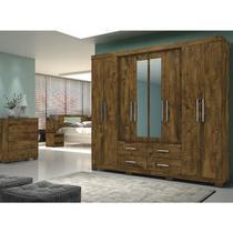 Guarda Roupa Casal Com Espelho San Lorenzo Castanho Wood Moval -