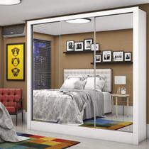 Guarda Roupa Casal com Espelho Super Glass 3 Portas de Correr 3 Gavetas Santiago Premium Carioca Móveis Branco CestaPlus -