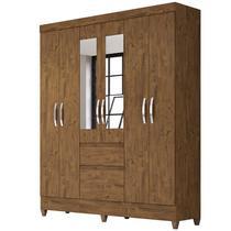 Guarda Roupa Casal Cuba 6 Portas e Espelho Castanho Wood - Moval -
