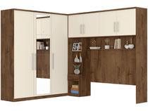 Guarda-roupa Casal de Canto com Espelho 7 Portas - 5 Gavetas Móveis Europa Trento