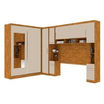 Guarda roupa casal de canto com espelho 9 portas, muitos nichos e 4 gavetas Nature Off White - Robel