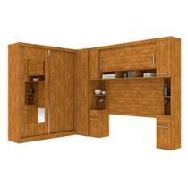 Guarda roupa casal de canto com espelho 9 portas, muitos nichos e 4 gavetas Nature - Robel