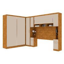 Guarda roupa casal de canto modulado com 9 portas, muitos nichos e 5 gavetas Nature Off White - Robel