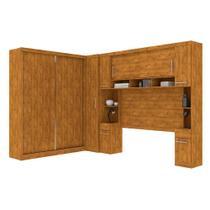 Guarda roupa casal de canto modulado com 9 portas, muitos nichos e 5 gavetas Nature - Robel