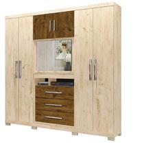 Guarda roupa casal Dubai 6 Portas 3 Gavetas Multifuncional com Painel para Tv de 32 -  Moval  Avelã Castanho -