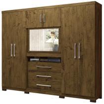 Guarda roupa casal Dubai 6 Portas 3 Gavetas Multifuncional com Painel para Tv de 32 -  Moval - Castanho com Wood -