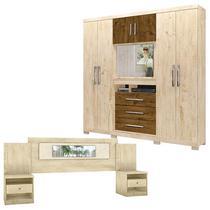 Guarda Roupa Casal Dubai e Cabeceira Sevilha Castanho Avelã Wood - Moval -